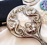 Антикварне посріблене ручне дзеркало, дзеркало з ручкою, сріблення, флористичний дизайн, США, фото 3