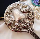 Антикварне посріблене ручне дзеркало, дзеркало з ручкою, сріблення, флористичний дизайн, США, фото 2