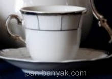 Набір чайний Thun Menuet (Обведення платина) на 6 персон 12 предметів 230мл d8,5 см h7,5 см фарфор (7224800)
