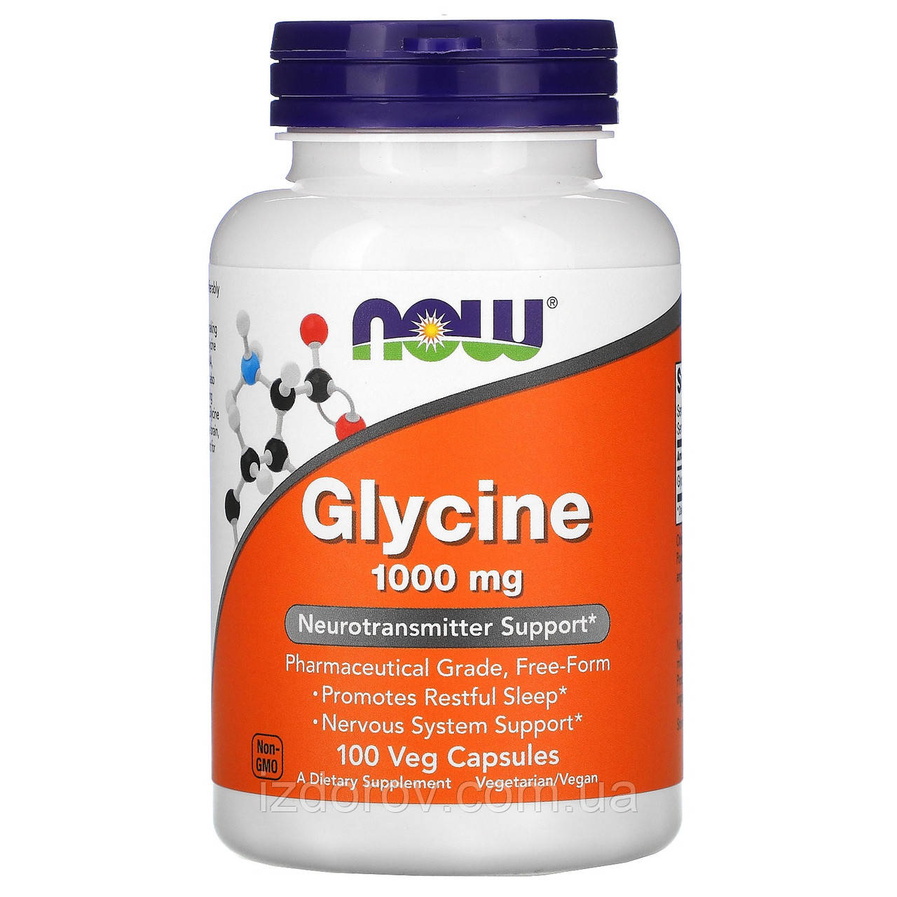Now Foods, Глицин 1000 мг, аминокислота Glycine, 100 растительных капсул