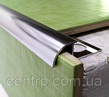Наружный уголок для плитки наезжающий ОАП Серебро (анод) полированное 2,7 м
