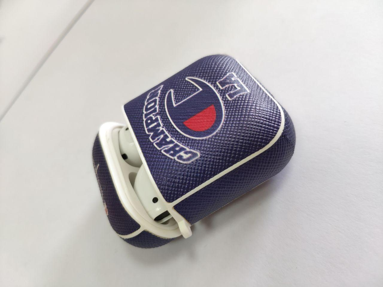 ОПТ Чохол на кейс для бездротових навушників AirPods 2 шкіряний з принтом
