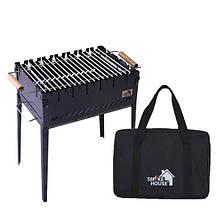 Раскладной мангал чемодан на 6 шампуров из стали с сумкой и решеткой из черного метала 2 мм