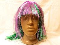 Карнавальный парик с дождика и волос, розово-зеленый