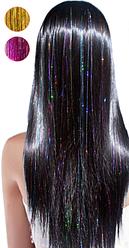 Цветные искусственные блестящие пряди волос Канекалон на заколках