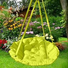 Підвісне крісло гамак для будинку й саду 96 х 120 см до 120 кг салатового кольору