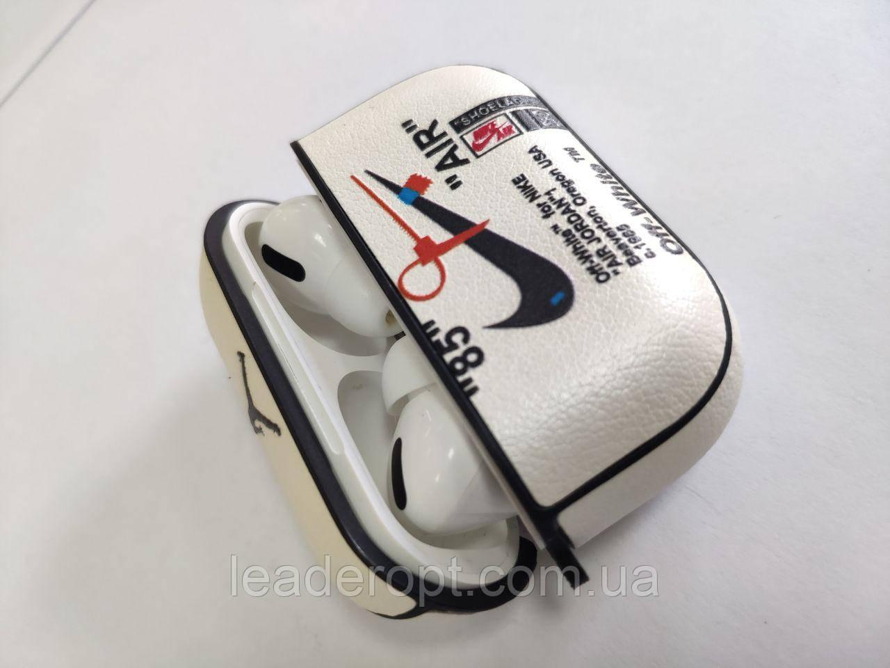 ОПТ Чехол на кейс для беспроводных наушников AirPods Pro кожаный с принтом NIKE