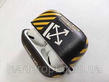 ОПТ Чохол на кейс для бездротових навушників AirPods Pro шкіряний з принтом