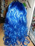 Парик карнавальный длинный синий , фото 2