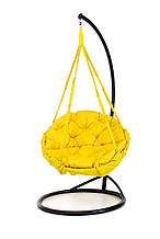 Підвісне крісло гамак для дому та саду з великою круглою подушкою 96 х 120 см до 200 кг жовтого кольору