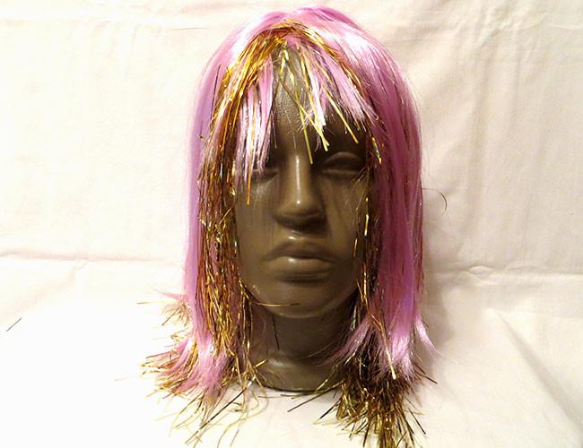 Карнавальный парик с дождика и волос, золотисто-розовый