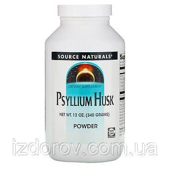 Source Naturals, Порошок из шелухи семян подорожника, Псиллиум, Psyllium Husk Powder, 340 гр