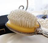 Старинная посеребренная щетка для волос, щетка с ручкой, серебрение, Англия, винтаж, фото 6