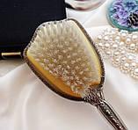 Старинная посеребренная щетка для волос, щетка с ручкой, серебрение, Англия, винтаж, фото 5