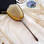 Старинная посеребренная щетка для волос, щетка с ручкой, серебрение, Англия, винтаж, фото 8