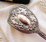 Старинная посеребренная щетка для волос, щетка с ручкой, серебрение, Англия, винтаж, фото 3