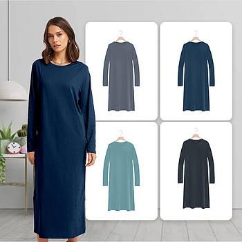 Модное однотоннее платье синего цвета (базовый гардероб) ТМ СДВУ модель SD2 с длинным рукавом