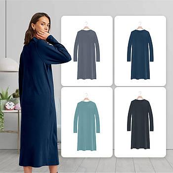 Модное однотоннее платье темно синего цвета (базовый гардероб) ТМ СДВУ модель SD2 с длинным рукавом