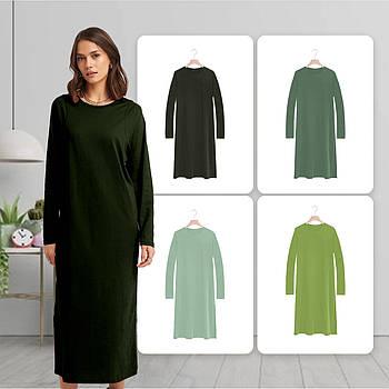 Модное однотоннее платье темно зеленого цвета (базовый гардероб) ТМ СДВУ модель SD2 с длинным рукавом
