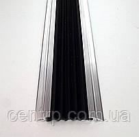 Алюминиевая накладка на ступени с одной антискользящей вставкой плоская, 48 мм. УЛ 150. Без покрытия, 3.0м