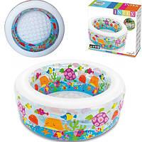 """Детский надувной бассейн с надувным дном Intex """"Аквариум"""" 58480 152х56 см круглый для детей, для дома и дачи"""
