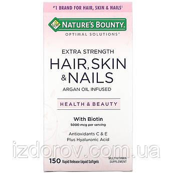 Nature's Bounty, Optimal Solutions, Волосся, шкіра, нігті, Hair Skin & Nails,150 швидкорозчинних м'яких капсул