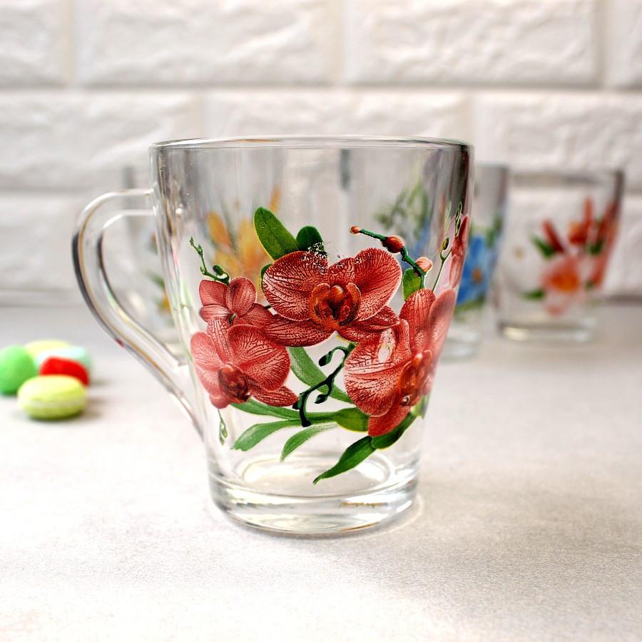 """Кружка скляна з квітковим малюнком ОСЗ """"Грація"""" 250 мл (8120)"""