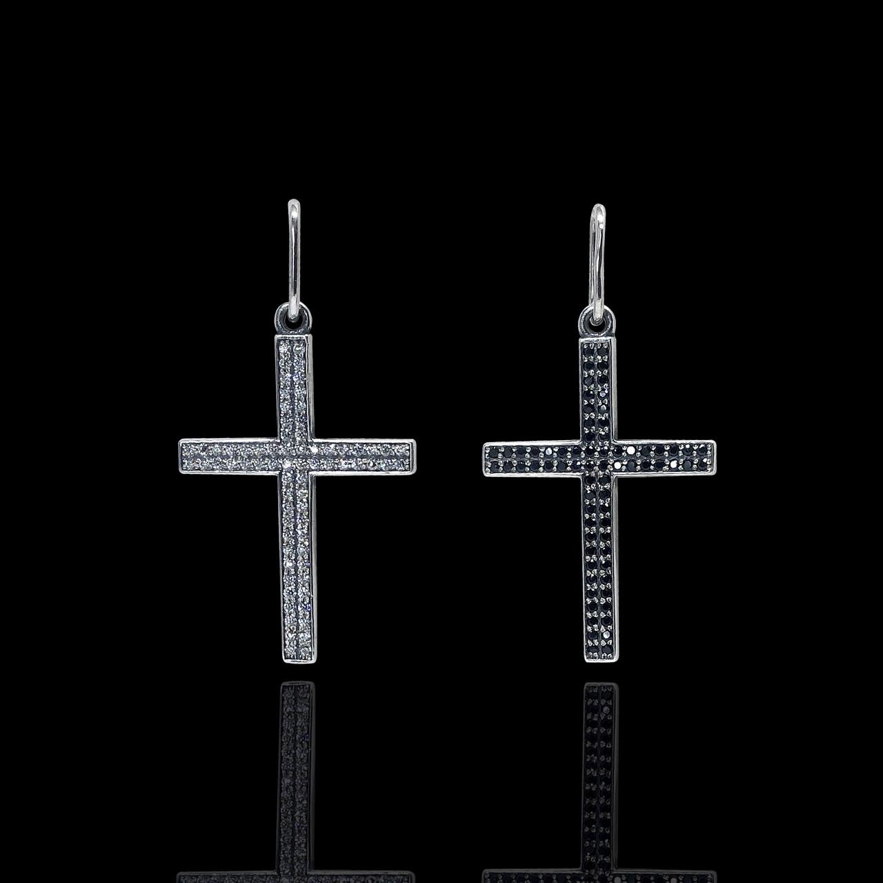 Срібний хрестик з різнокольоровими фіанітами