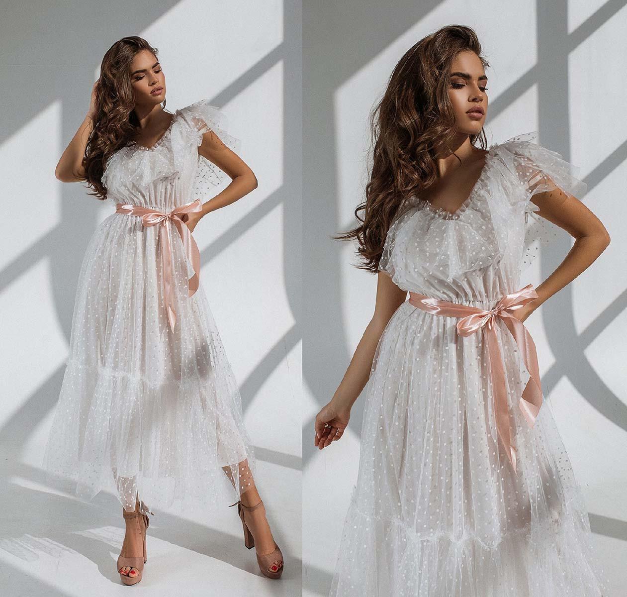 """Женское нарядное платье 6083 """"Сетка Миди Волан"""""""