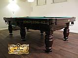 Бильярдный стол для пула ФЕРЗЬ 9 футов Ардезия 2.6 м х 1.3 м из натурального дерева, фото 3