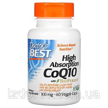 Doctor's Best, Легкоусвояемый CoQ10 (коэнзим Q10) с BioPerine, 100 мг, 60 растительных капсул