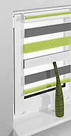 Роллета-мини Zebra trikolor белый/зелёный/серый (ZTC-3) 64*160см