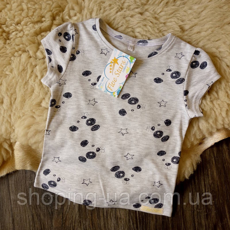 Детская футболка щенки на сером Five Stars KD0323-104p