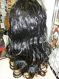 Парик карнавальний довгий чорний хвиля, фото 2