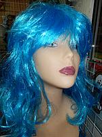 Парик карнавальный длинный голубой Мальвина