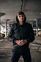 """Куртка мужская демисезонная Intruder """"Sprinter"""" с капюшоном, стильная молодежная ветровка черная"""