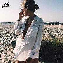 Стильная пляжная рубашка на пуговицах 42-46 р, фото 3