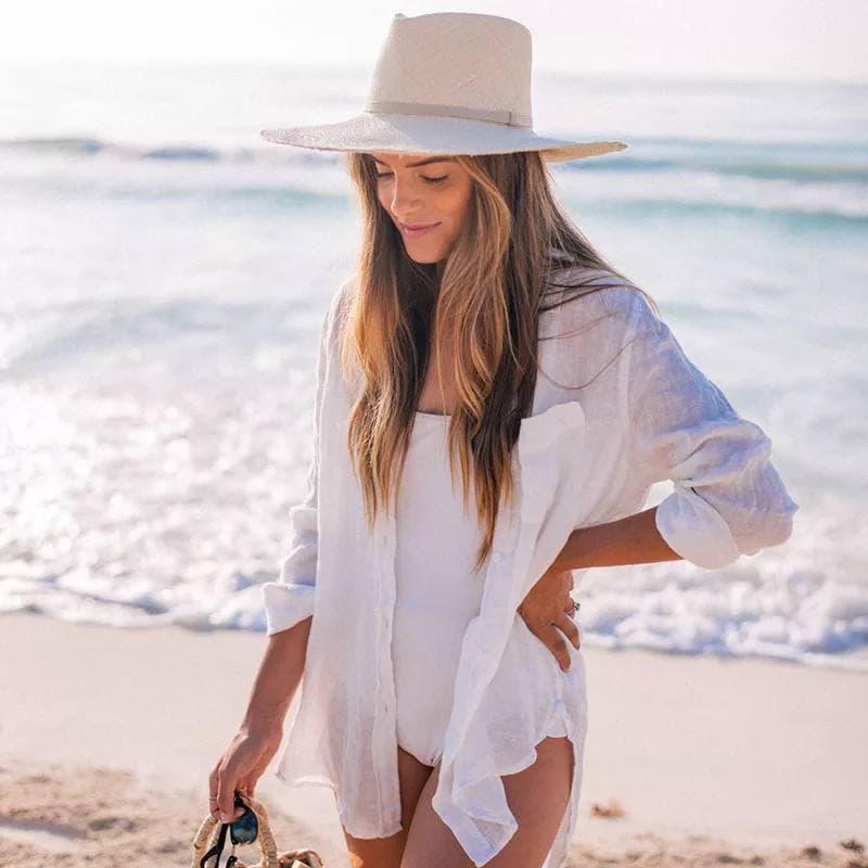 Стильная пляжная рубашка на пуговицах 42-46 р