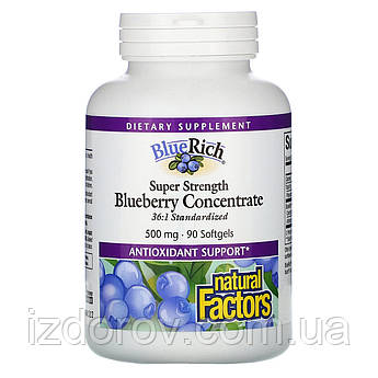 Natural Factors, BlueRich, Чорниця концентрат 500 мг, 90 м'яких таблеток