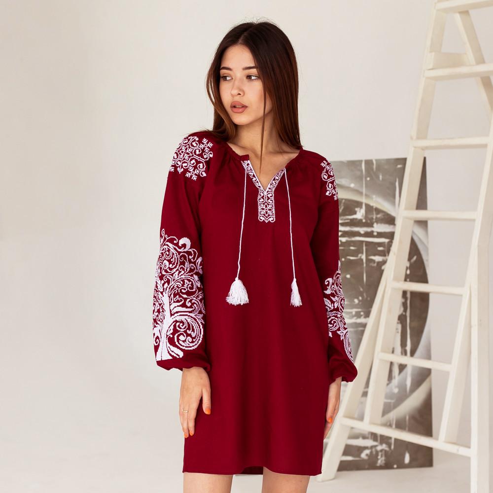 Бордова жіноча сукня з вишивкою Дерево Життя