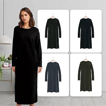 Модное однотоннее платье черного цвета (базовый гардероб) ТМ СДВУ модель SD2 с длинным рукавом