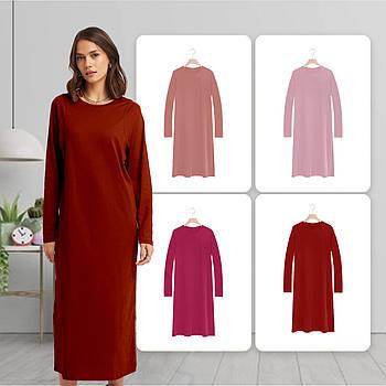 Модное однотоннее платье красного цвета (базовый гардероб) ТМ СДВУ модель SD2 с длинным рукавом