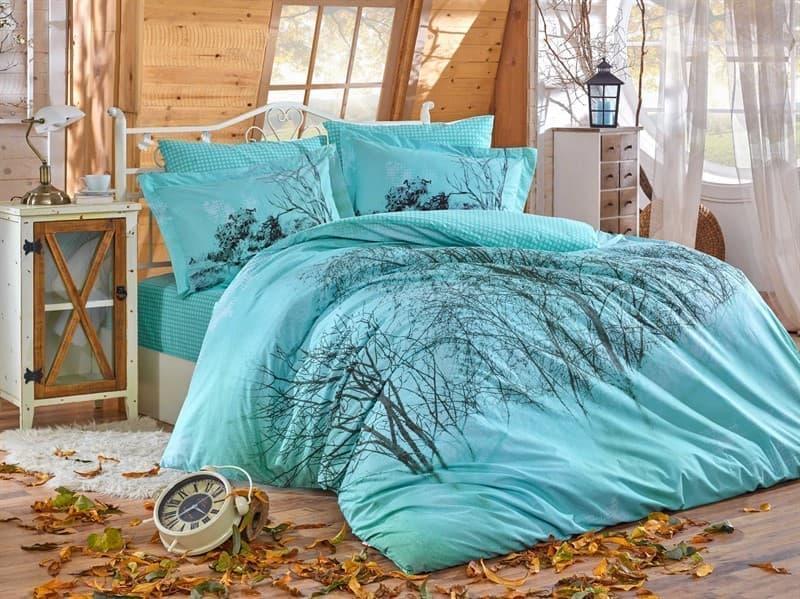 Комплект постельного белья HOBBY Poplin Margherita бирюзовый 200*220/2*50*70