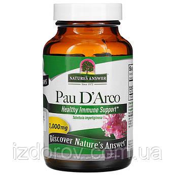 Nature's Answer, Кора муравьиного дерева Pau D'Arco, Пау Д'Арко, 1000 мг (на 2 капсулы), 90 капсул
