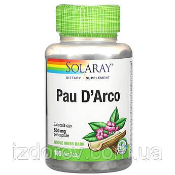 Solaray, Pau D'Arco, Кора муравьиного дерева Пау Д'Арко, 550 мг, 100 растительных капсул