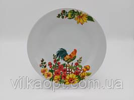 Тарелка мелкая десертная керамическая белая цветная с рисунком закусочная Петух в упаковке 12 штук D 20 cm
