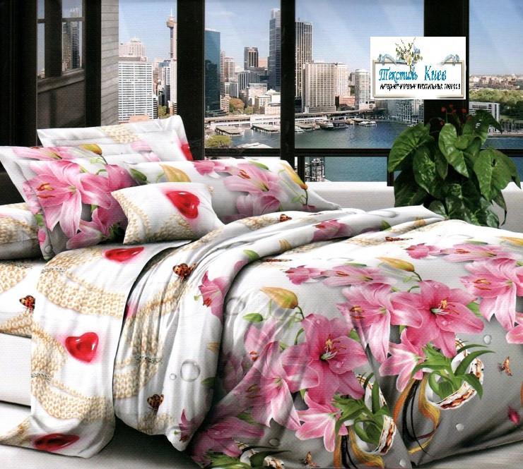 Белье постельное комплект полуторный ткань бязь 150х215 см постельное бельё набор Цветы