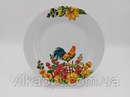 Тарелка мелкая закусочная керамическая белая цветная с рисунком Петух обеденная для вторых блюд 23 cm