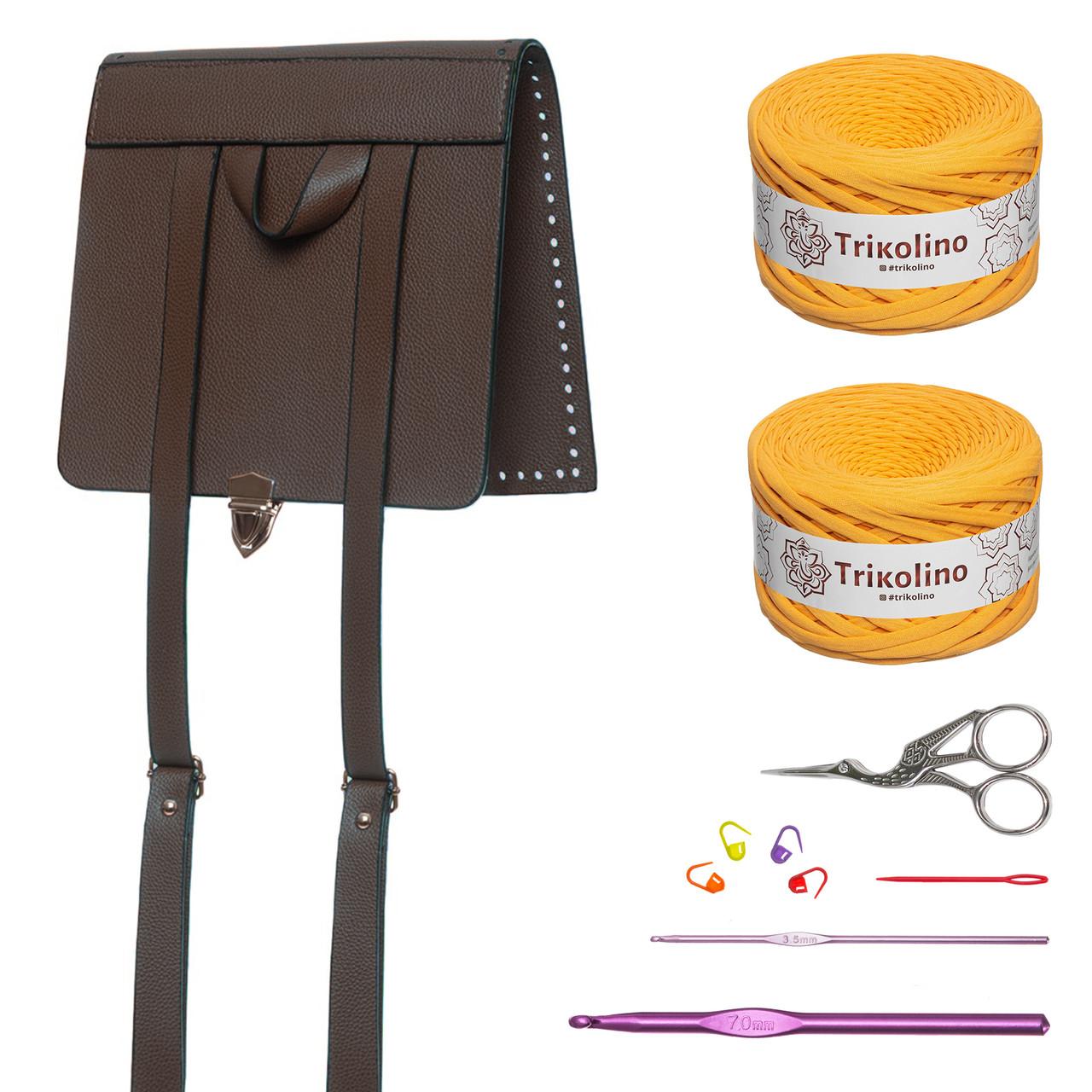 Набір для рюкзака Фундук з екошкіри Шоколад (пряжа - Охра)