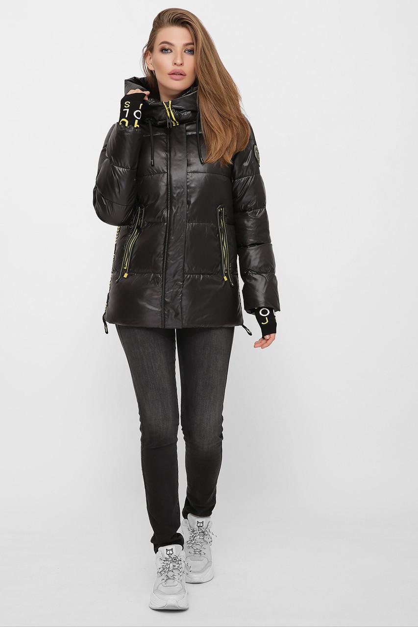 Жіноча зимове коротка чорна куртка 8290